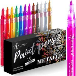 Metallic Paint Pens for Rock Painting, Stone, Pebbles, Ceramic, Glass, Wood